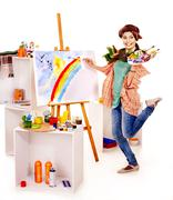 Female artist at work. Stock Photos