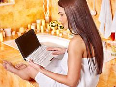 Woman relaxing at home luxury bath. Stock Photos