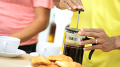 Young African American Couple Breakfast Together Home - stock footage