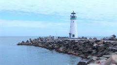 Walton Lighthouse in Santa Cruz Stock Footage