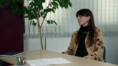 Medium shot of interviewee and CEO small talk - stock footage
