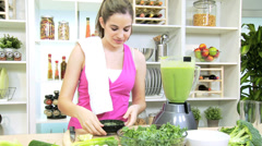 Healthy Workout Girl Blending Fresh Vegetable Smoothie Stock Footage