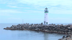 Walton Lighthouse and Boats Stock Footage