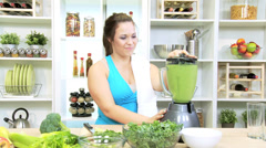 Caucasian Gym Girl Online Recipe Healthy Fruit Smoothie Stock Footage