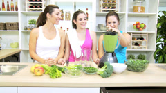 Caucasian Females Blender Fresh Vegetable Drink After Workout Stock Footage