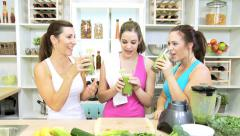 Caucasian Females Preparing Gym Drinking Healthy Vegetable Smoothie Stock Footage