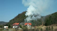 View from distance, smoke in forest near houses - stock footage