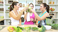 Health Club Females Drinking Blended Organic Fruit Vegetable Drink Stock Footage