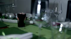 Detail of beautifully decorated table for special occasion Stock Footage