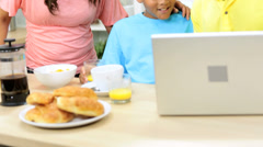 Close Up Modern Ethnic Family Wireless Technology Kitchen - stock footage