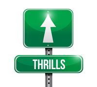 thrills road sign illustration design - stock illustration
