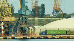 Freight train passes near the dock cranes in port Stock Footage