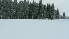 Stock Video Footage of One person skiing down the slope