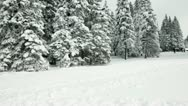 Group of people skiing in idyllic winter time Stock Footage