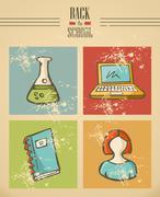 back to school ribbon text education icon set. - stock illustration