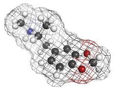 3,4-methylenedioxymethamphetamine (mdma, xtc) drug molecule, chemical structu - stock illustration