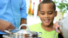 Young African American Business Couple Son Home Kitchen Stock Footage