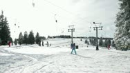 Amazing view at ski slope full of skiers Stock Footage