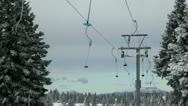 Stock Video Footage of Idyllic ski slope, cableway on cloudy, cold day