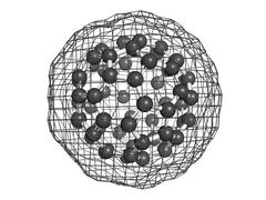 Buckminsterfullerene (buckyball, c60), molecular model. Stock Illustration