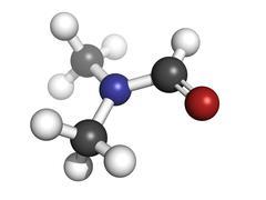 Dimethylformamide (dmf) solvent, molecular model Stock Illustration