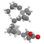 omega-3 fatty acid docosahexaenoic acid, molecular model. - stock illustration