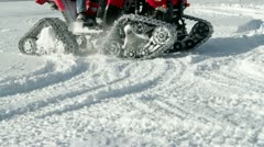 Motor sled driving on the snow Stock Footage