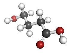 Gamma-hydroxybutyric acid (ghb, liquid xtc) drug, molecular model. Stock Illustration