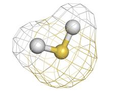 Hydrogen sulfide (h2s) toxic gas molecule, chemical structure. h2s is a toxic Stock Illustration