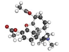 heroin (diacetylmorphine) narcotic drug, molecular model. - stock illustration