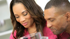 Close Up African American Couple Kitchen Wireless Tablet Stock Footage