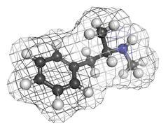 Methamphetamine (crystal, meth) psychostimulant drug, molecular model. Stock Illustration