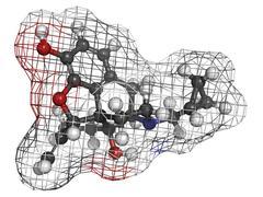 Nalmefene alcoholism treatment drug, molecular model. Stock Illustration