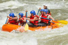 White Water Rafting Team In Bright Sunlight Pastaza River Ecuador Sangay Stock Photos