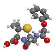 Stock Illustration of penicillin v antibiotic, molecular model
