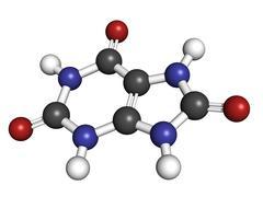 Uric acid gout molecule, chemical structure. Stock Illustration