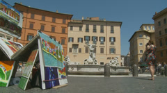 Selling art in Piazza Navona, Rome 10 (slomo dolly) Stock Footage