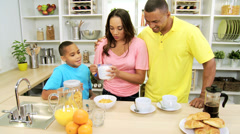 African American Parents Child Preparing Breakfast Kitchen - stock footage