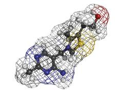 vitamin b1 (thiamine) molecule - stock illustration