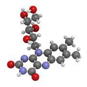 vitamin b2 (riboflavin) molecule - stock illustration