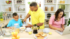 African American Father Son Kitchen Mom Working - stock footage