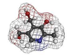 vitamin b6 (pyridoxine) molecule - stock illustration