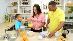 Young African American Family Breakfast Together Home - stock footage