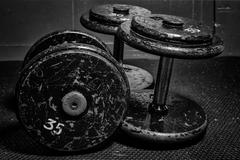 Old dumbbells Stock Photos