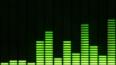 Audio equalizer moving bars. Green-Purple. Loopable. Alpha matte. Stock Footage