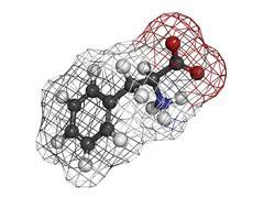 phenylalanine (phe, f) amino acid, molecular model. - stock illustration