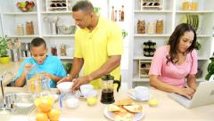 Working Ethnic Mom Kitchen Counter Family Preparing Breakfast - stock footage