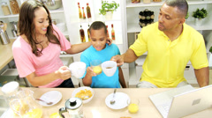 Breakfast Time Modern African American Family Stock Footage