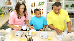Working Ethnic Dad Kitchen Counter Family Preparing Breakfast - stock footage