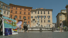 Selling art in Piazza Navona, Rome 7 (slomo dolly) Stock Footage